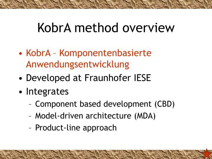 KobrA method overview