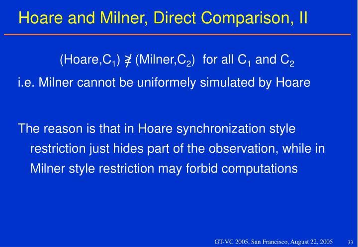 Hoare and Milner, Direct Comparison, II