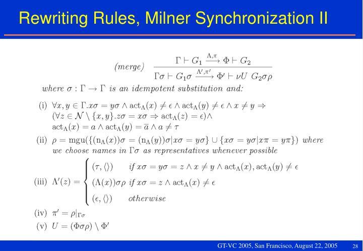 Rewriting Rules, Milner Synchronization II