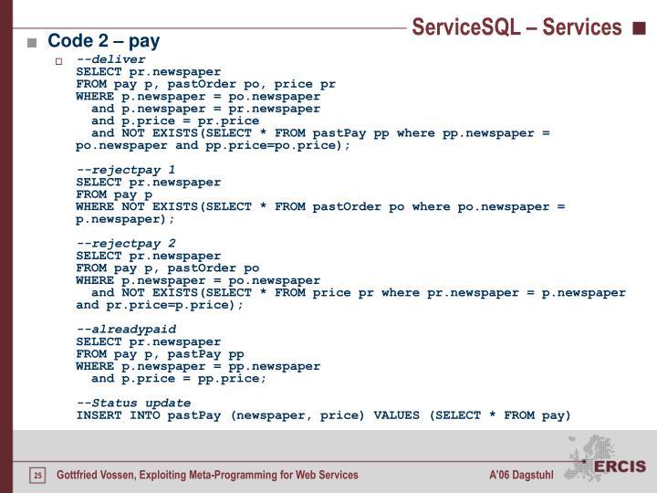 ServiceSQL – Services