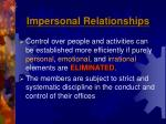 impersonal relationships