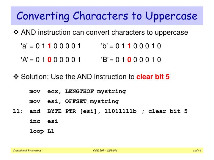 Converting Characters to Uppercase