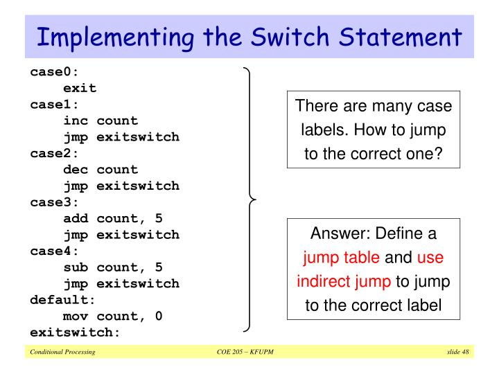 Implementing the Switch Statement