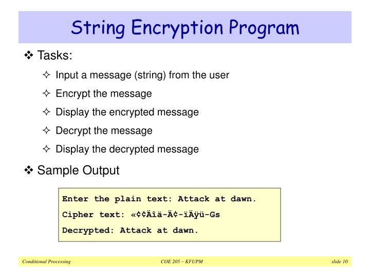 String Encryption Program