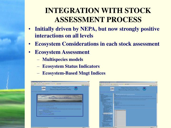 INTEGRATION WITH STOCK ASSESSMENT PROCESS