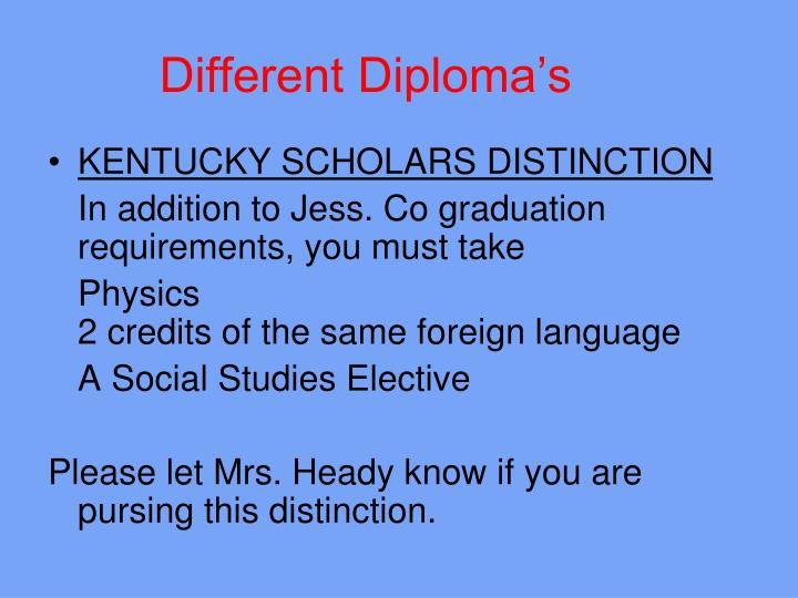 Different Diploma's