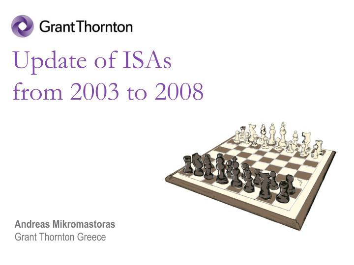 update of isas from 2003 to 2008 n.
