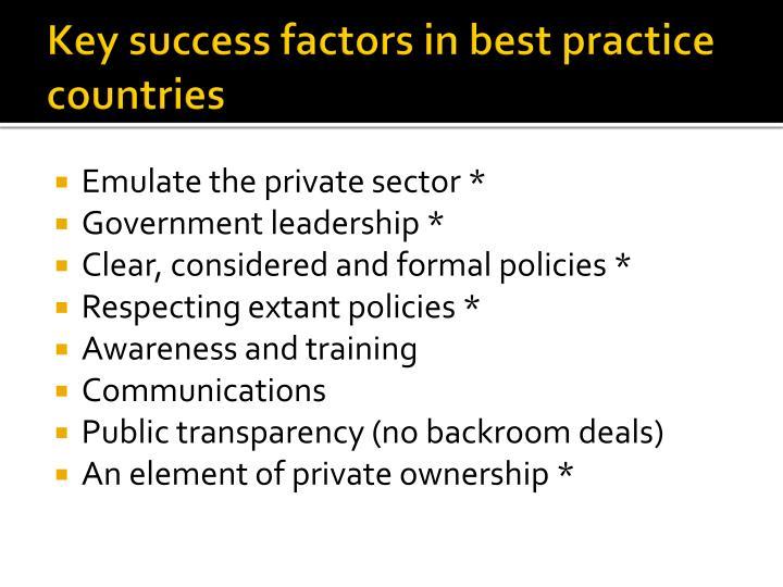 Key success factors in best practice countries