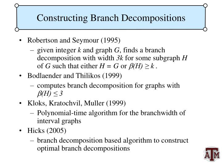 Constructing Branch Decompositions