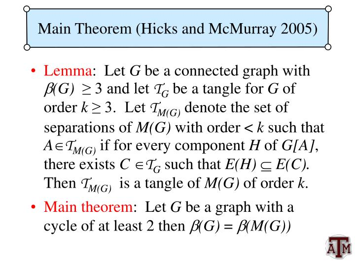Main Theorem (Hicks and McMurray 2005)