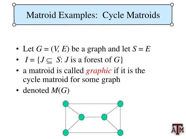 Matroid Examples:  Cycle Matroids