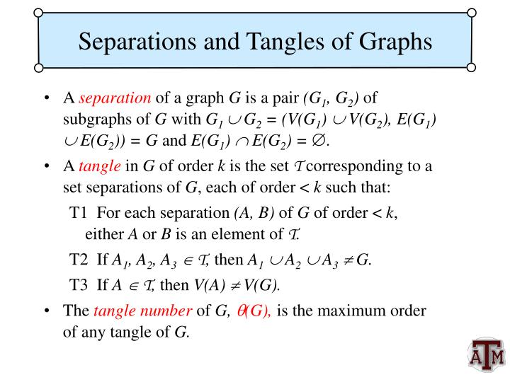 Separations and Tangles of Graphs
