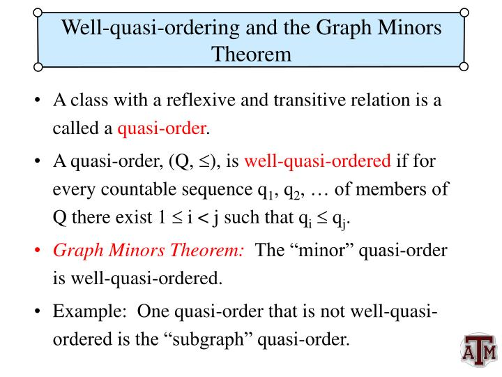 Well-quasi-ordering and the Graph Minors Theorem