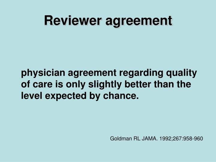Reviewer agreement