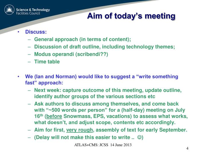 Aim of today's meeting