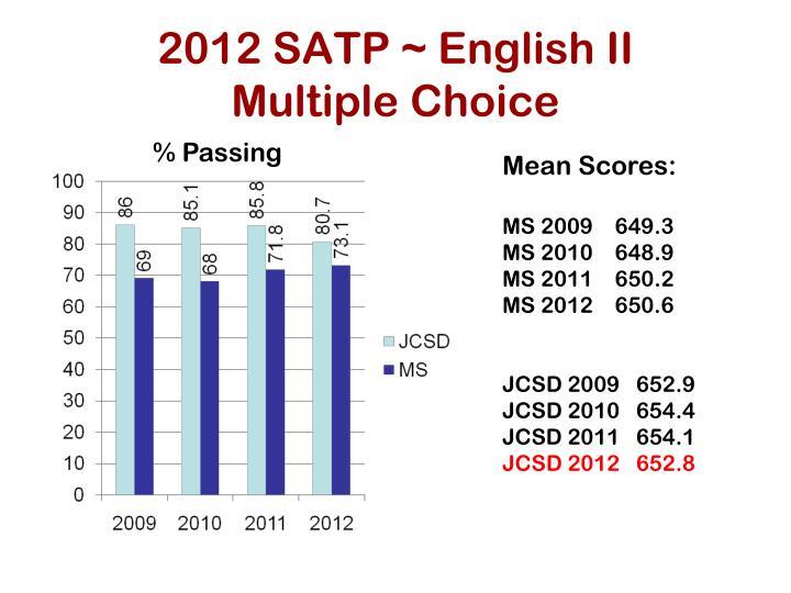 2012 SATP ~ English II
