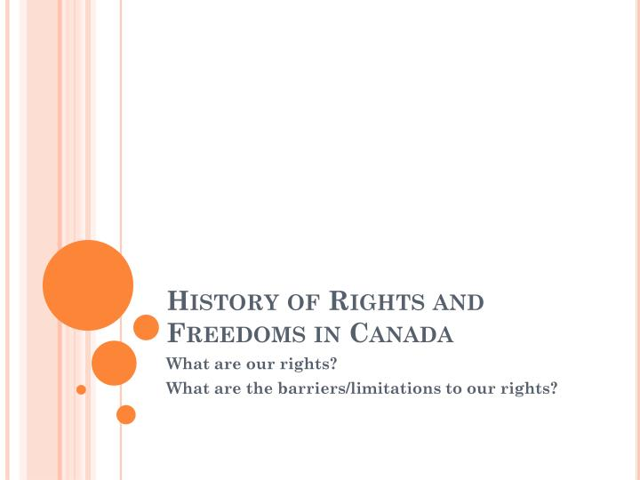 history of rights and freedoms in canada n.