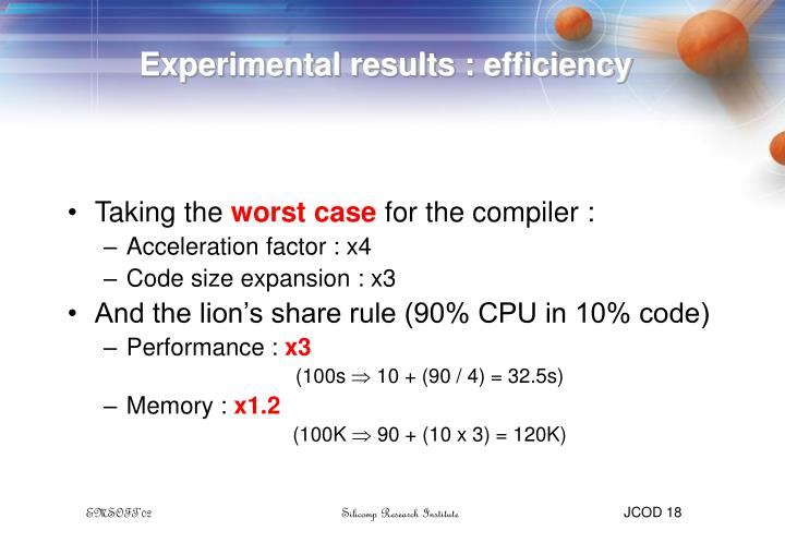 Experimental results : efficiency