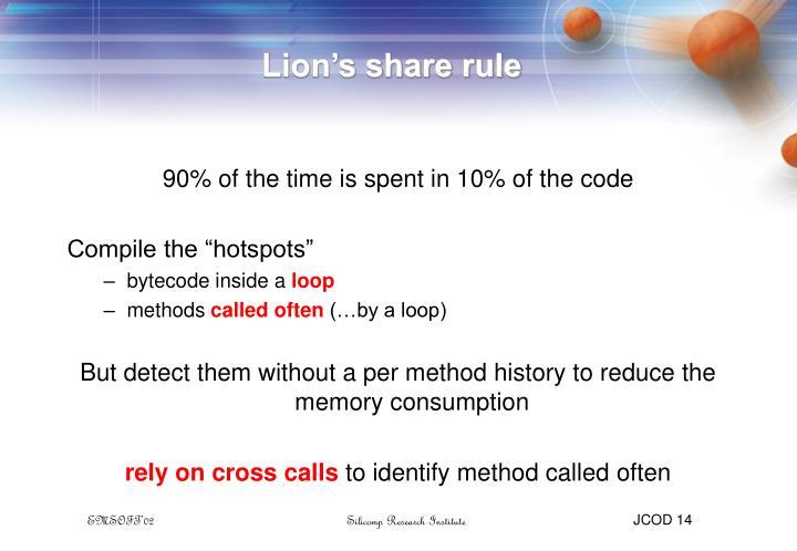 Lion's share rule