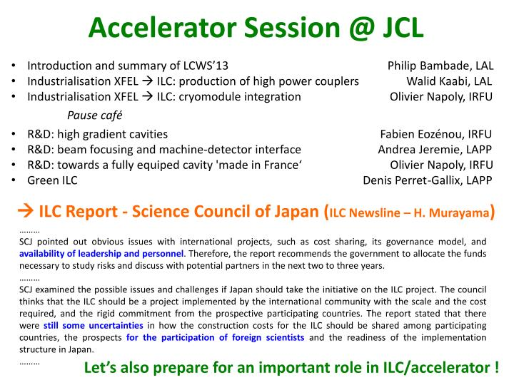 Accelerator session @ jcl