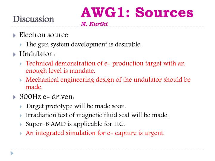 AWG1: Sources