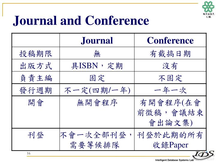 Journal and Conference