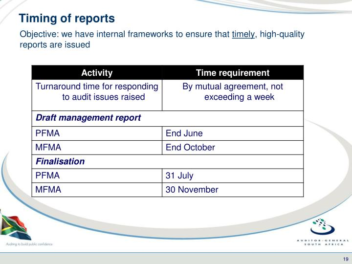 Timing of reports