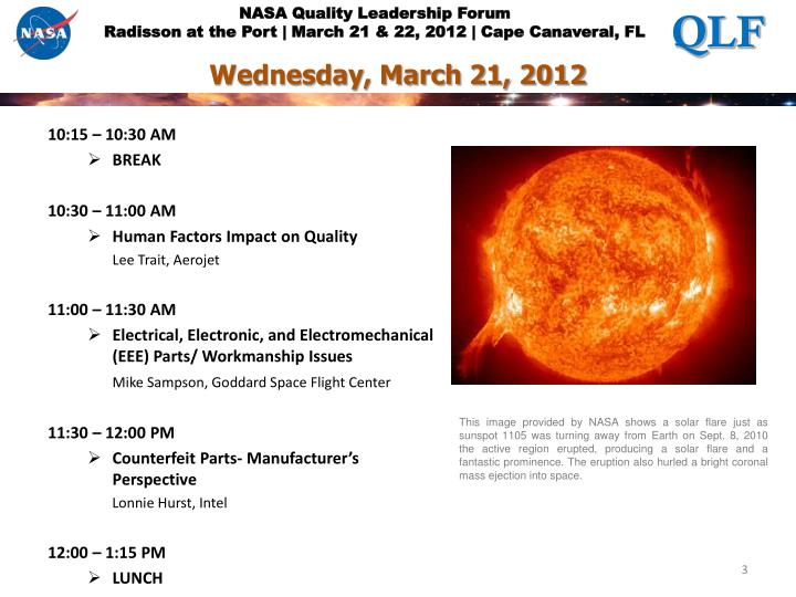 Wednesday march 21 2012