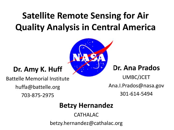 Satellite remote sensing for air quality analysis in central america