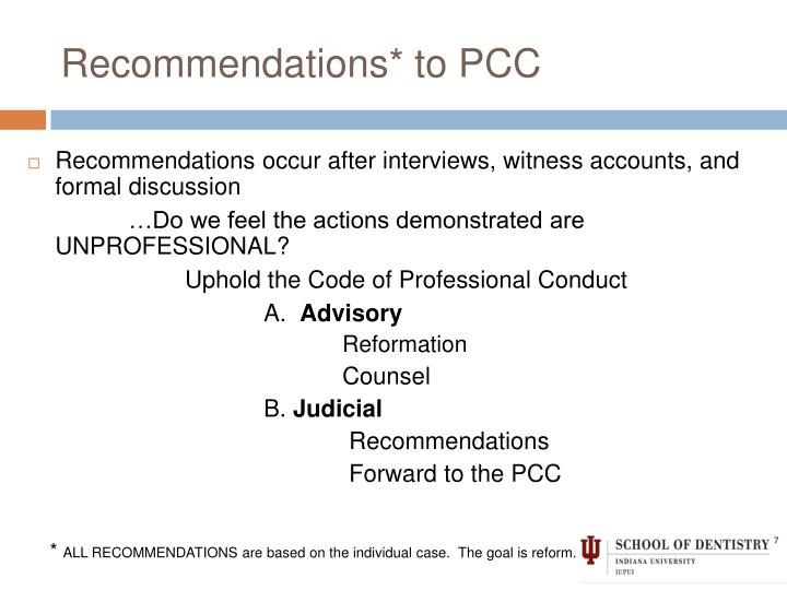 Recommendations* to PCC
