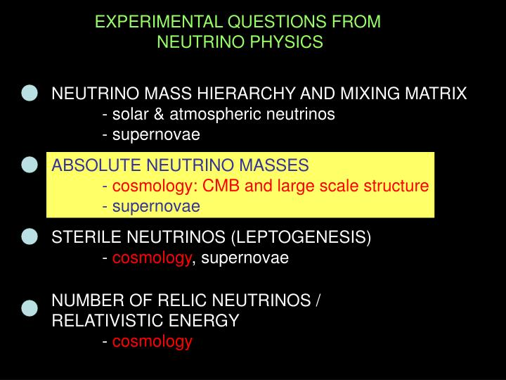 EXPERIMENTAL QUESTIONS FROM