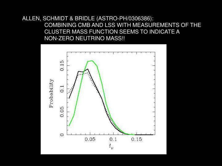 ALLEN, SCHMIDT & BRIDLE (ASTRO-PH/0306386):