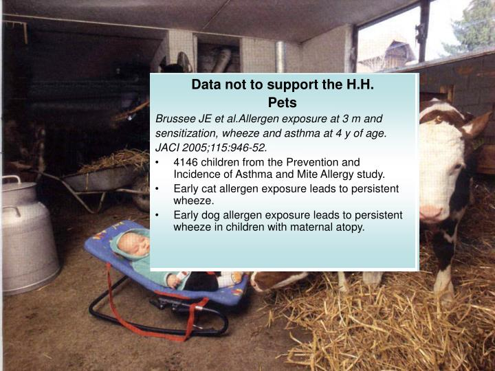 Data not to support the H.H.