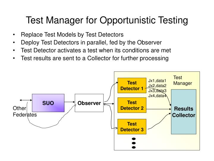 Test Manager for Opportunistic Testing