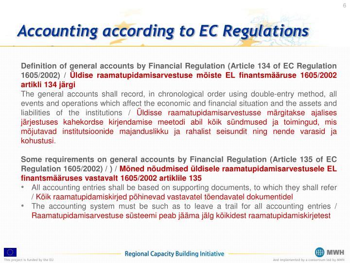 Accounting according to EC Regulations