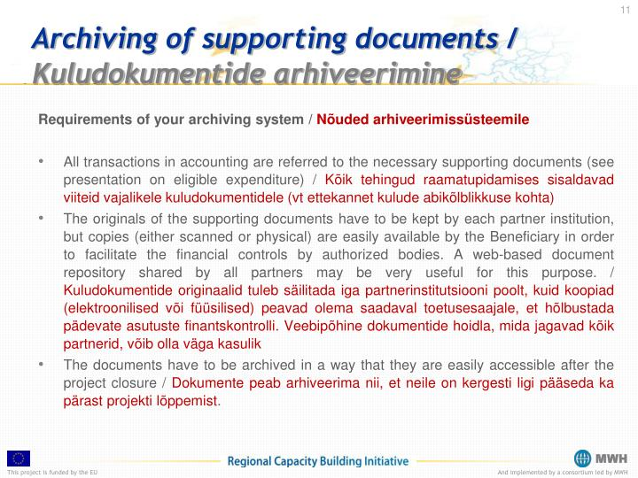 Archiving of supporting documents