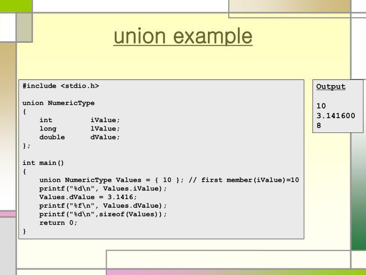 union example