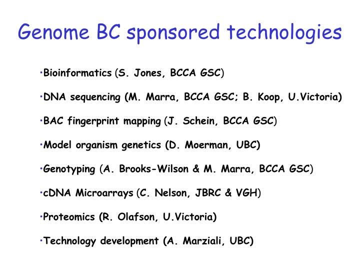 Genome BC sponsored technologies