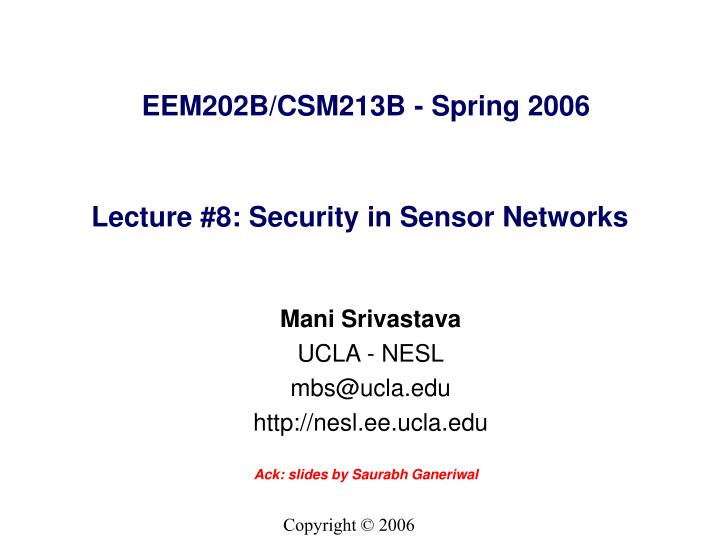 lecture 8 security in sensor networks n.