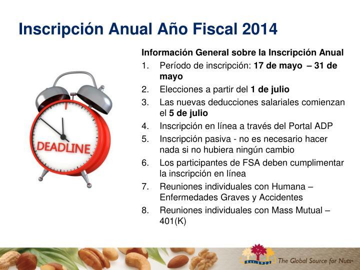 Inscripci n anual a o fiscal 20141