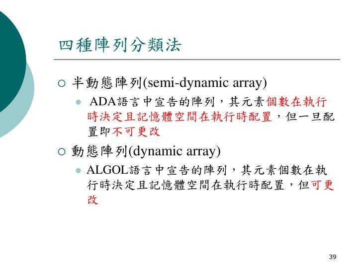 四種陣列分類法
