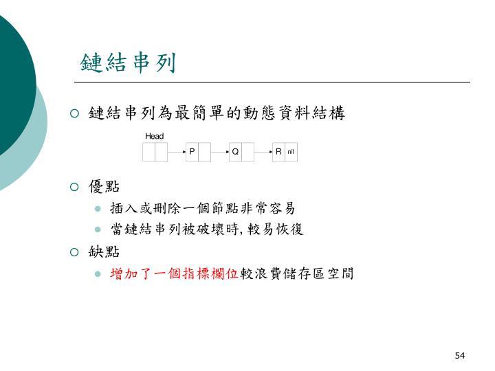 鏈結串列為最簡單的動態資料結構