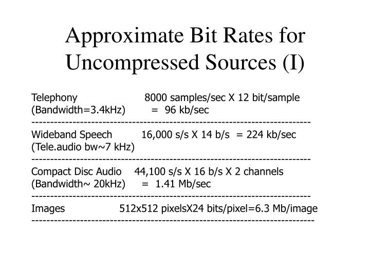 Approximate bit rates for uncompressed sources i