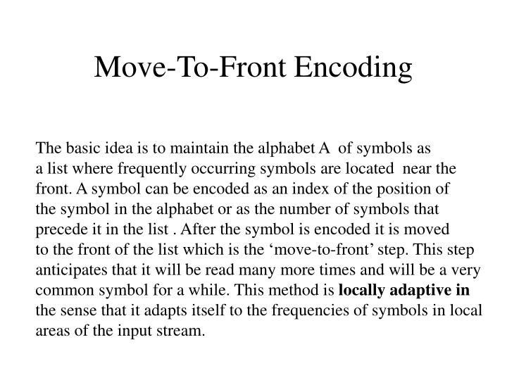 Move-To-Front Encoding