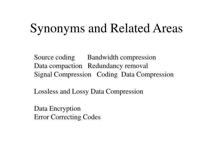 Synonyms and Related Areas