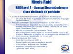 n veis raid raid level 3 acesso sincronizado com disco dedicado de paridade