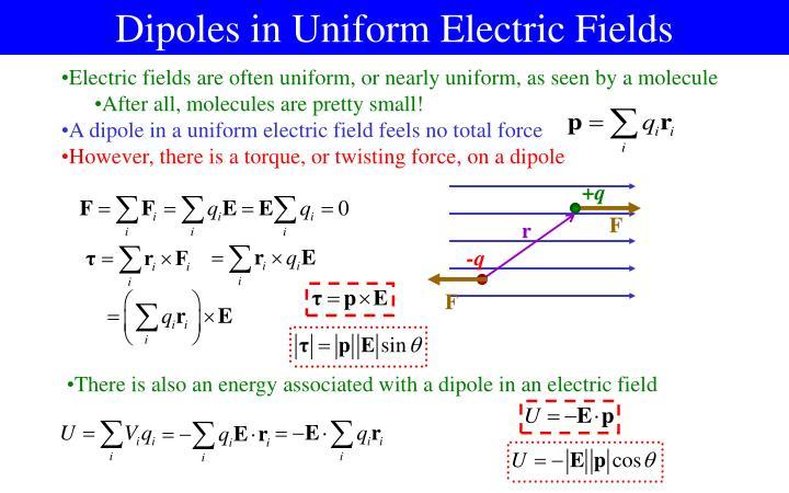 Dipoles in Uniform Electric Fields