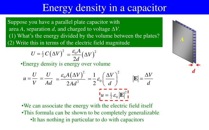 Energy density in a capacitor