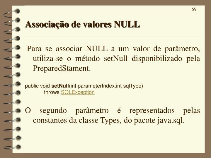 Associação de valores NULL