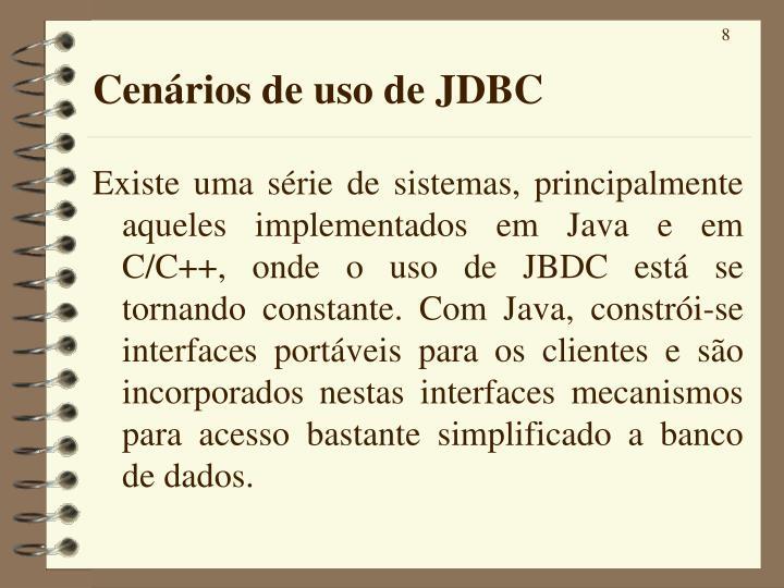 Cenários de uso de JDBC